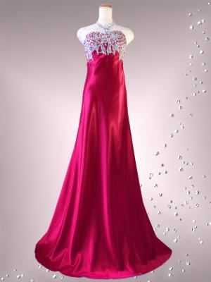 ラグジュアリーベアトップドレス シャンパンレッド 0218/ 演奏会 ラミューズドレス通販