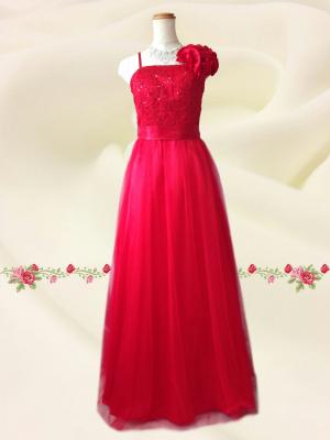 Lサイズ チュール刺繍ロングドレス  レッド/ 演奏会 ラミューズドレス通販