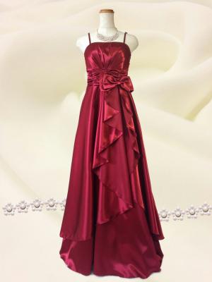 上質サテンリボン ワインレッドの ロングドレス 演奏会 ラミューズドレス通販
