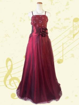 お花の刺繍 ワインレッドのロングドレス / 演奏会 ラミューズドレス通販