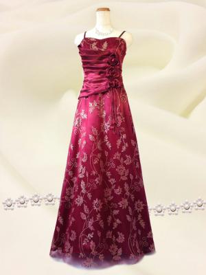ゴールドの華♪ワインレッドのロングドレス / 演奏会 ラミューズドレス通販