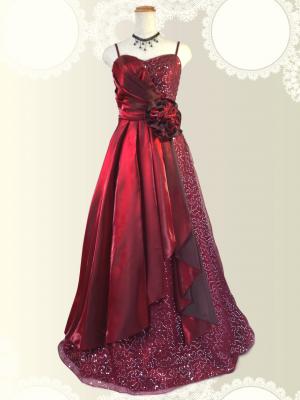 スパンコールの着やせドレス♪ロングドレス ワインレッド/ラミューズドレス通販
