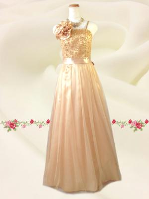 Lサイズ チュール刺繍ロングドレス  イエロー/ 演奏会 ラミューズドレス通販