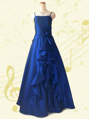 フリルロングドレス ブルー 演奏会ラミューズドレス通販