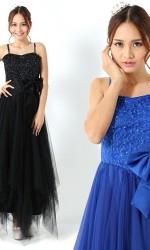 小さい方におススメ♪姫ロングドレス ブラック066/ 演奏会 ラミューズドレス通販