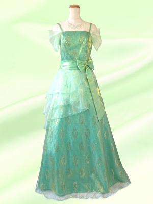 【L】ライトグリーン お袖つき声楽ドレス♪黄緑 / ロングドレス 演奏会 ラミューズドレス通販