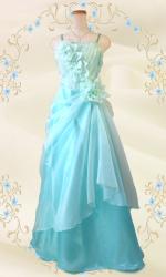 優美な薔薇のロングドレス グリーン/ 演奏会 ラミューズドレス通販