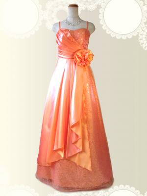 スパンコールの着やせドレス♪ロングドレス オレンジ/ラミューズドレス通販