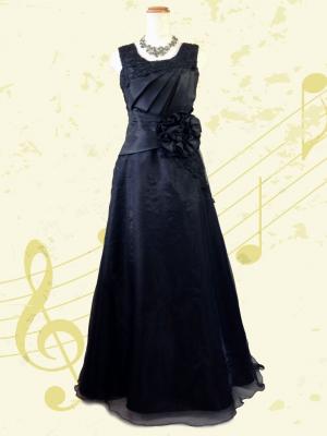 ノースリーブのロングドレス 黒 / 演奏会 ラミューズドレス通販