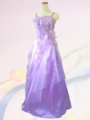 優美な薔薇のロングドレス ラベンダー/ 演奏会 ラミューズドレス通販