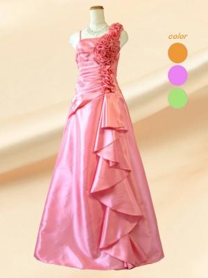 薔薇とフリル ピンクのロングドレス 演奏会 パーティー ラミューズドレス通販