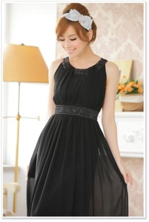 大きいサイズLL ビジューのノースリーブロングドレス ラミューズドレス通販 9600