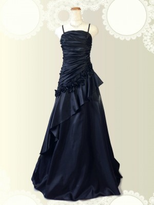 椿姫ブラック ロングドレス♪黒 演奏会 パーティー ラミューズドレス通販