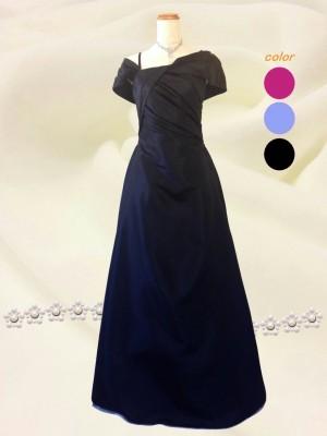 オフショルダー 袖付き 黒のロングドレス♪演奏会 パーティー ラミューズドレス通販