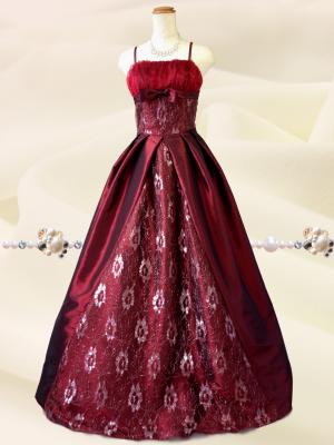 いとしのプリンセス♪ワインレッドのロングドレス 演奏会 ラミューズドレス通販