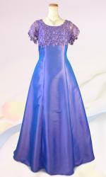 大きいサイズ3L / エレガントパープル 袖付きロングドレス / 演奏会 ラミューズドレス通販