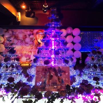 紫系シャンパンタワー