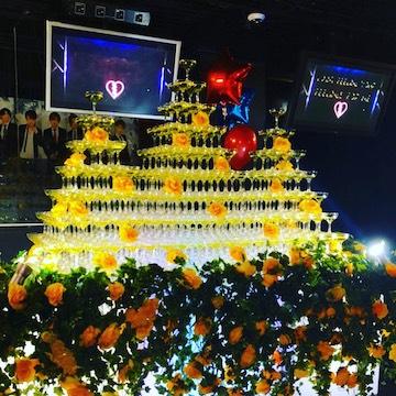 黄色系シャンパンタワー