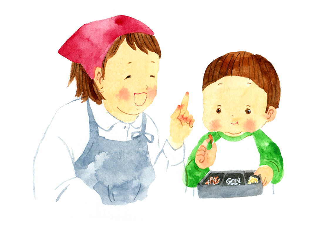 店員と子供