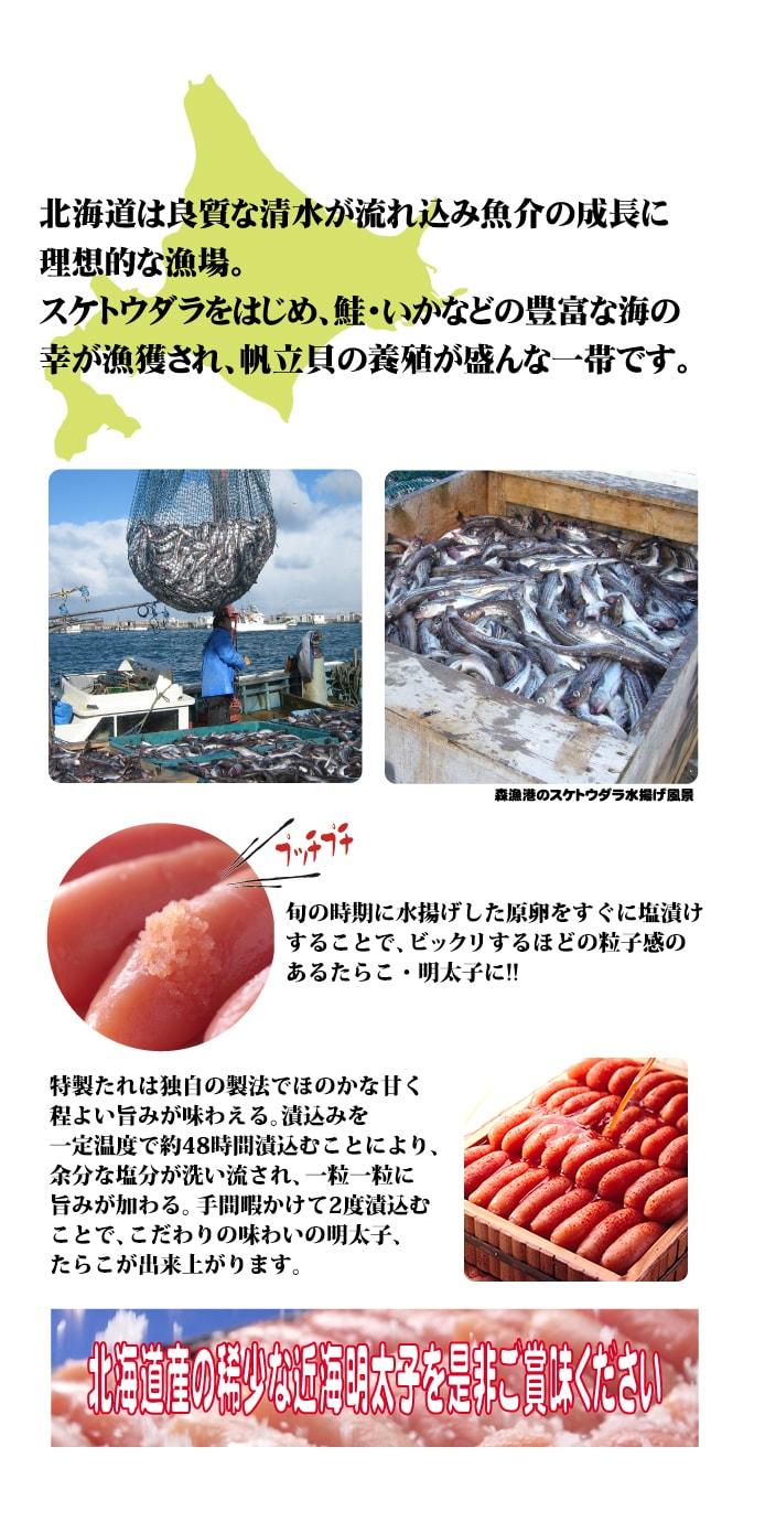 北海道は良質な清水が流れ込み魚介の成長に理想的な漁場。スケトウダラをはじめ、鮭・いかなどの豊富な海の幸が漁獲され、帆立貝の養殖が盛んな一帯です。