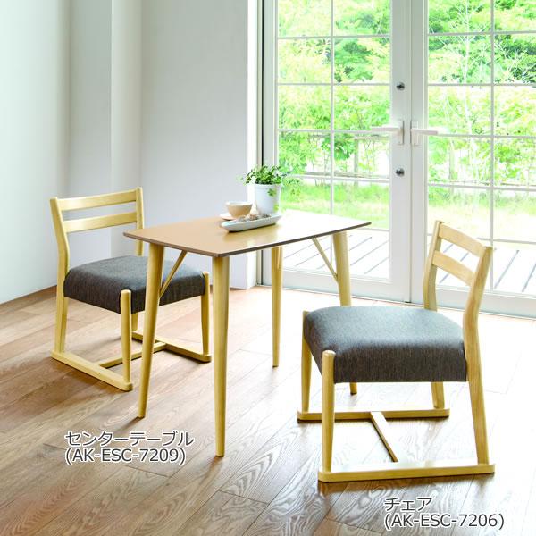 ナチュラル:高さ60cmテーブル&チェア 低めのダイニングとして 天然木素材と細身のデザイン エスコート
