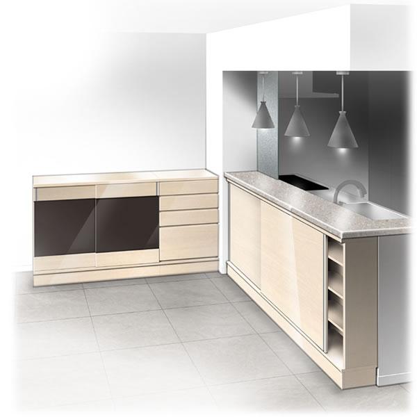 キッチンカウンター下/ダイニングカウンター グロス木目(GM):フルチョイス引戸キャビネット シータ 幅/奥行/高さを1cm単位オーダー 引戸ガラス/チェストも組合せ