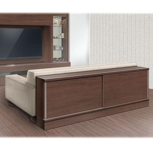 リビングのソファに合わせてサイズオーダー ウォールナット(WN):フルチョイス引戸キャビネット シータ 幅/奥行/高さを1cm単位オーダー 引戸ガラス/チェストも組合せ