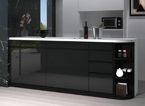 ブラックのモノトーンでスタイリッシュなキッチンカウンター下の収納スタイル:カウンター下すきまくん CSD カウンター下収納/高さ77〜103cmまで1cm単位オーダー