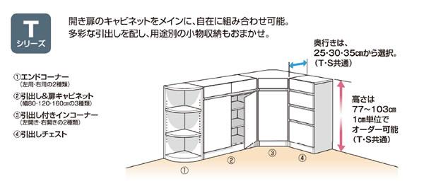 Tシリーズ:カウンター下すきまくん CSD カウンター下収納/高さ77〜103cmまで1cm単位オーダー