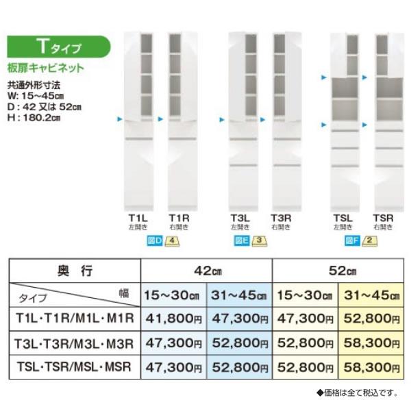 上が板扉のTタイプ:スリムすきまくんSSD 高さ180/92の隙間収納/幅15〜45cmまで1cm単位オーダー