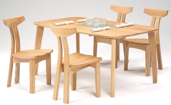 ナチュラルNA色:天然木タモ材無垢 ダイニングテーブル&チェア - ユートップ カスク