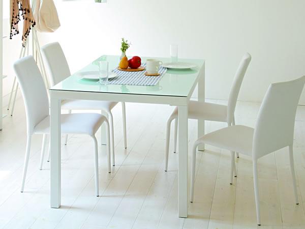 ガラストップ ダイニングテーブル/ホワイト スチールパイプ脚:ガラストップ&ハイグロスホワイト・ダイニングテーブル -あずま工芸