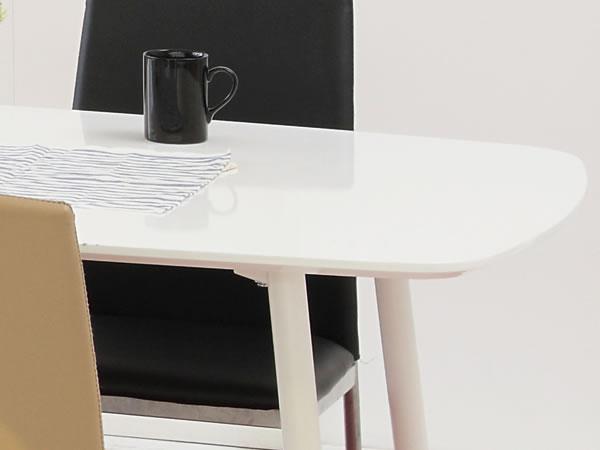 ハイグロスホワイト天板ダイニングテーブル:ガラストップ&ハイグロスホワイト・ダイニングテーブル -あずま工芸