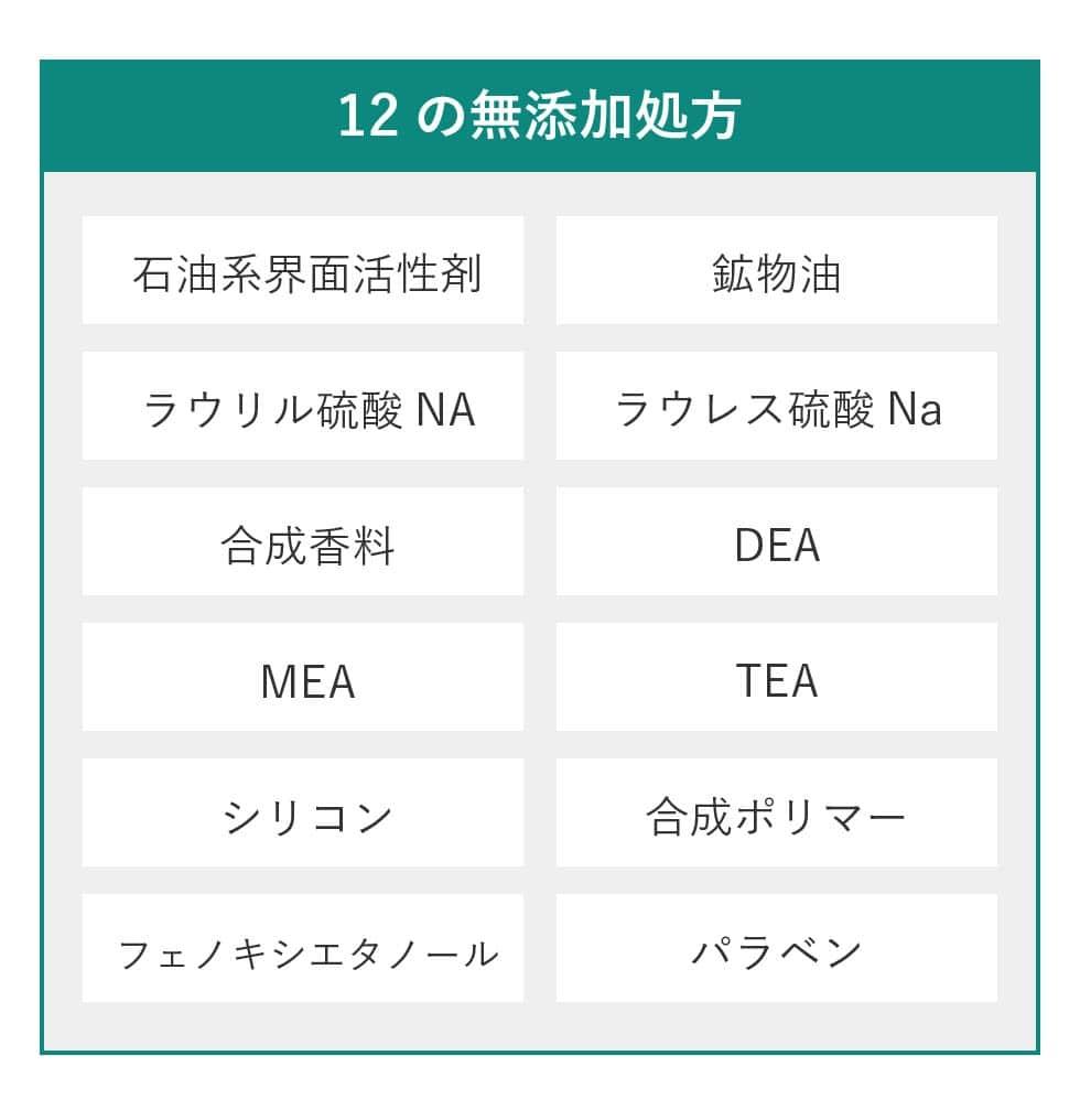 まつげエクステ 商材 12の無添加処方、石油系界面活性剤、鉱物油、ラウリル硫酸NA、ラウレス硫酸Na,合成香料、DEA、MEA、TEA,シリコン、合成ポリマー、フェトキシエタノール、パラベン。