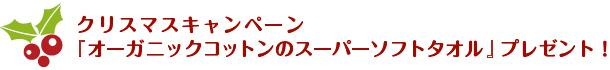 クリスマスキャンペーン 『オーガニックコットンのスーパーソフトタオル』プレゼント!