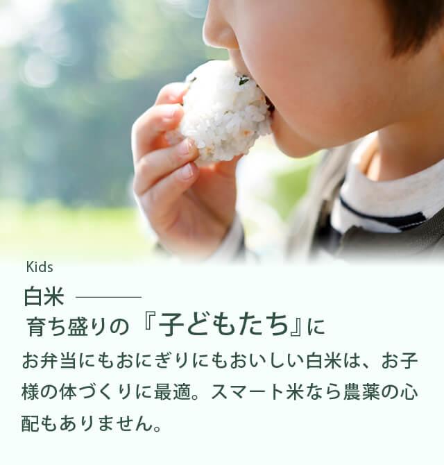 Kids「白米」/育ち盛りの『子どもたち』に /お弁当にもおにぎりにもおいしい白米は、お子様の体づくりに最適。スマート米なら農薬の心配もありません。