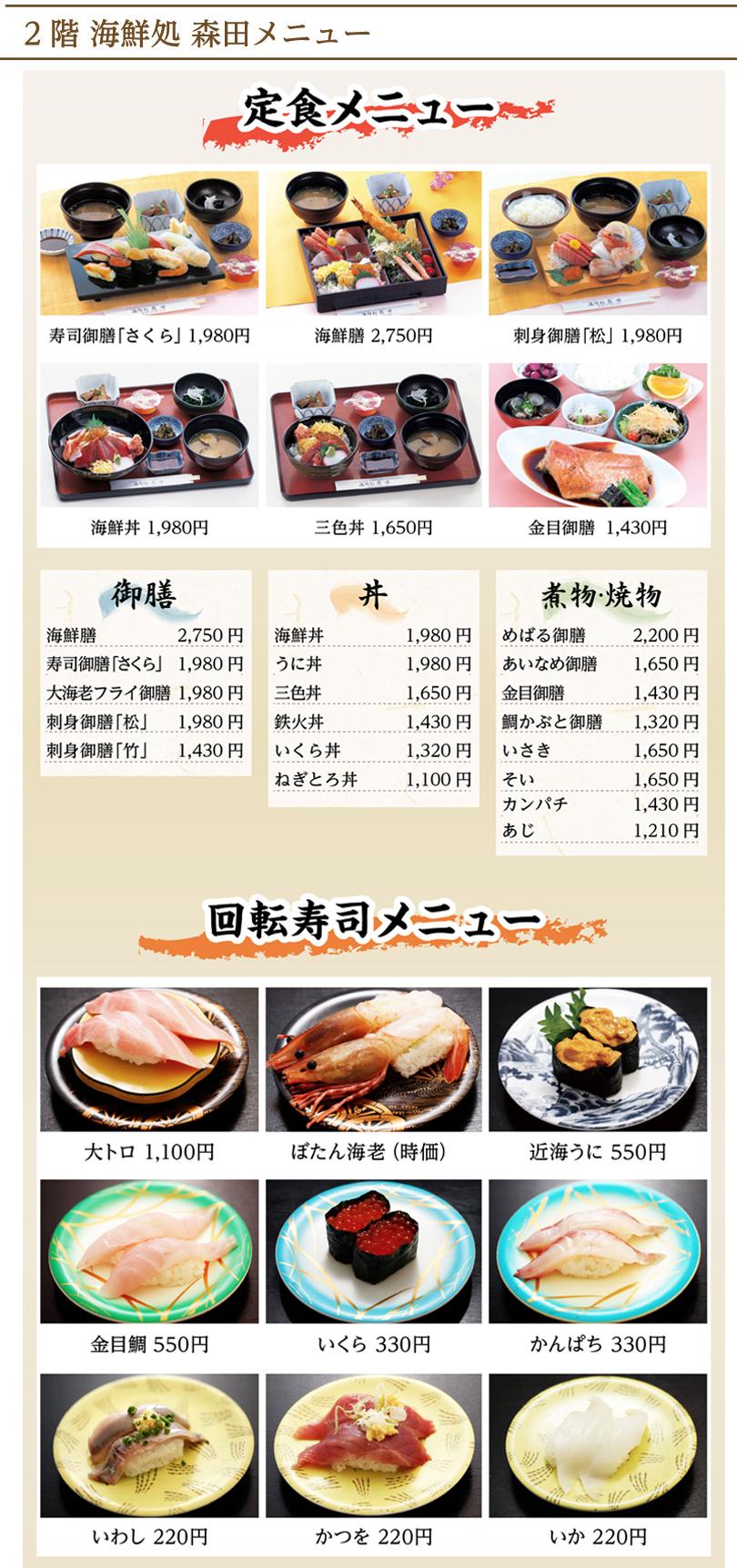 定食・   寿司メニュー