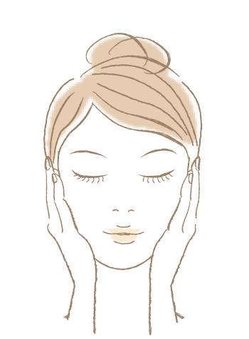 頬や額など広い部分に伸ばしてなじませる。