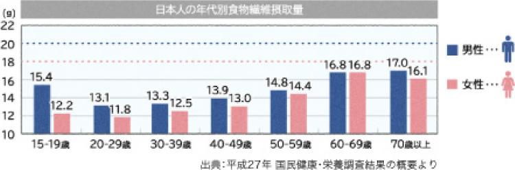 日本人の年代別嘱目繊維摂取量