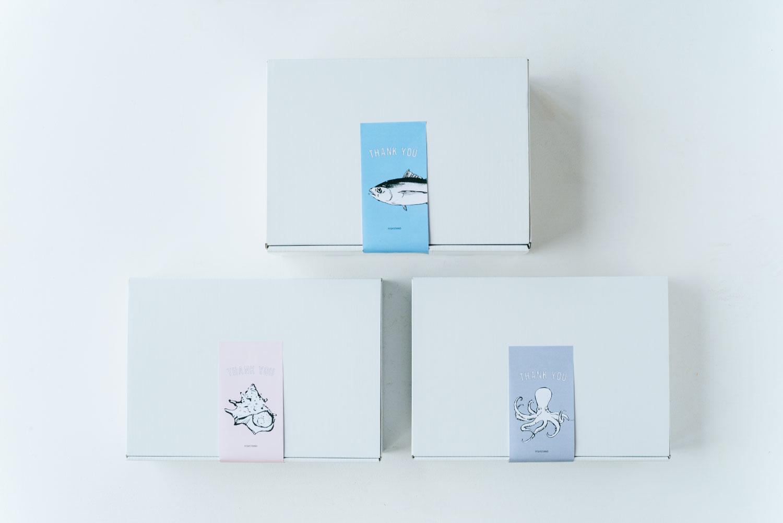 母の日ギフト:魚介系のイラストが添えられたオリジナルサンキューシール