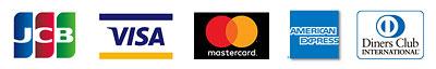 クレジットカード JCB、VISA、MasterCard、Diners Club、AMEX