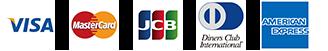 VISA、MASTER、JCB、ダイナース、AMERICANEXPRESSのロゴマーク