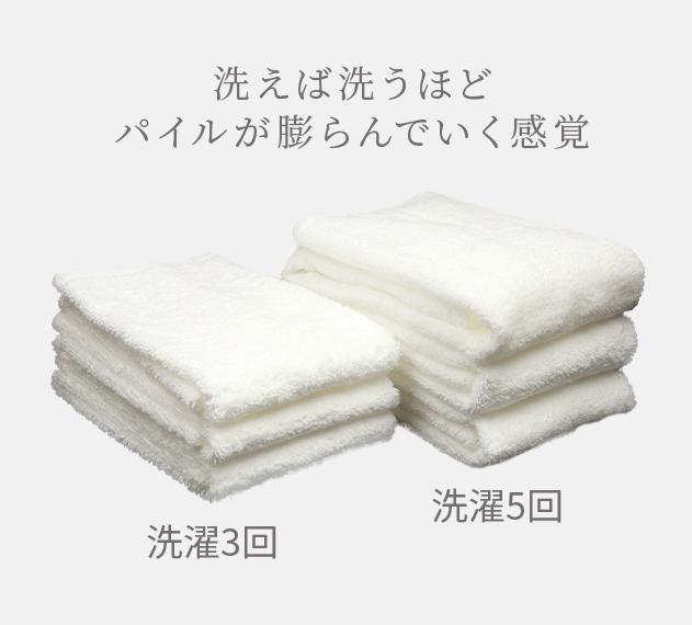 洗えば洗うほどパイルが膨らんでいく感覚