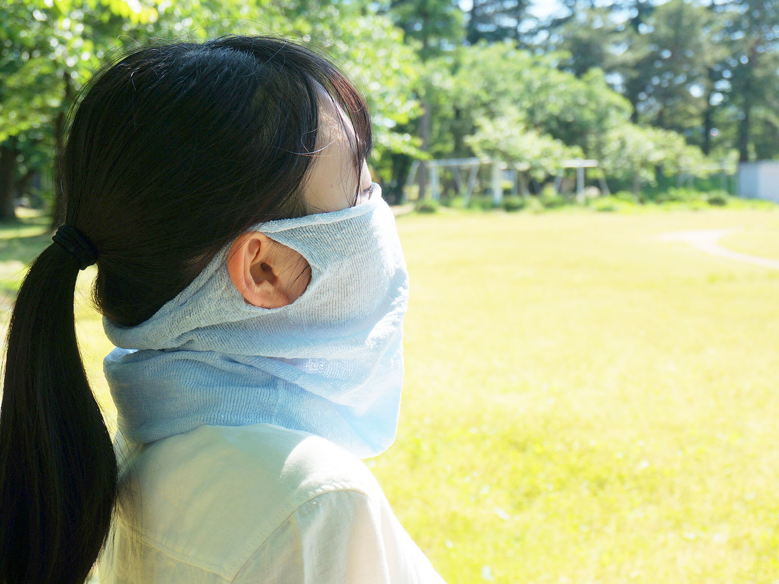 フェイスマスク かおをつつむ 呼吸しやすい 通気のよい 息苦しくない 綿レーヨンシルク
