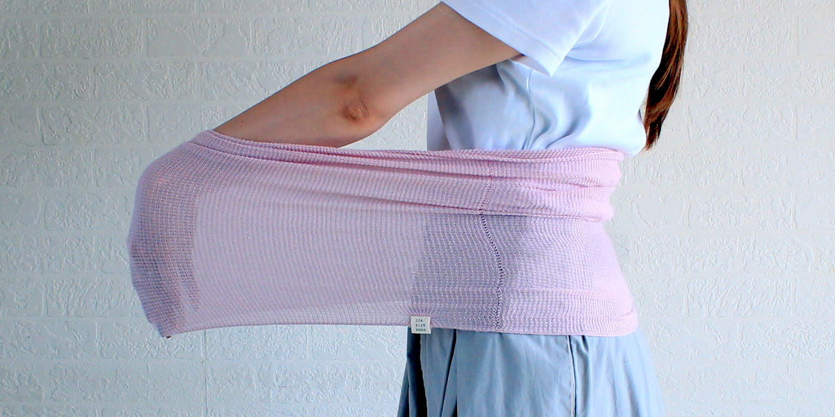 おなかをつつむ あしをつつむ のびる のびてらくなもの のびるワッフル編み
