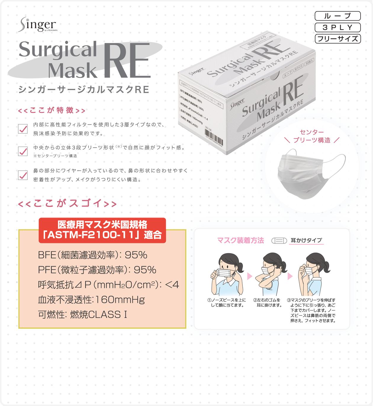 シンガーサージカルマスクRE Surgical Mask RE ここが特徴:内部に高性能フィルターを使用した3層タイプなので、飛沫感染予防に効果的です。 中央からの立体3段プリーツ形状(※)で自然に顔がフィット感。※センタープリーツ構造 鼻の部分にワイヤーが入っているので、鼻の形状に合わせやすく 密着性がアップ、メイクがうつりにくい構造。
