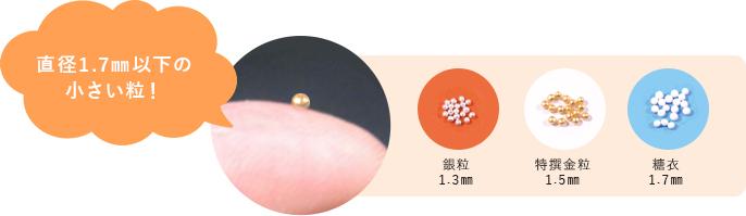 直径1.7mm以下の小さい粒!糖衣タイプならもっと飲みやすい