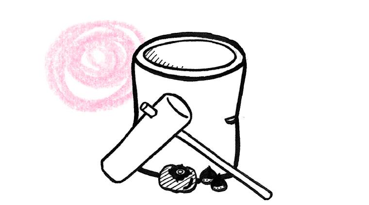 餅つきの臼のイラスト