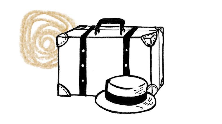 カバンと帽子のイラスト